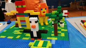 LEGO animals on a tropical island