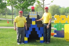 Rob and Kevin by their Everblock Dog House